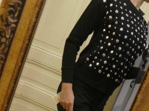 Michael Kors Pulli Pullover Sweatshirt nieten schwarz silber 36 S NEU