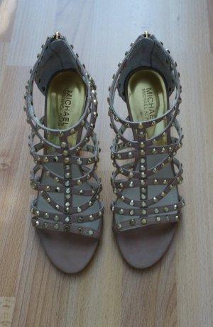 Michael Kors Pumps High Heels Sandalen Echtleder Gr. 39 nude Nieten Schuhe Glamour Style