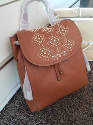 Michael Kors Riley Rucksack Tasche braun luggage gold Leder Original NEU