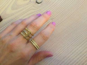 Michael Kors Ring Gr.59 Gold Farben 18,8 Strasssteinchen aus 3 Teilen + Geschenk