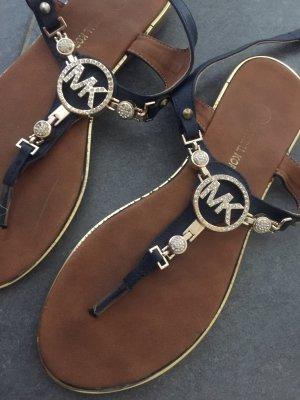 Michael Kors High-Heeled Toe-Post Sandals dark blue-gold-colored