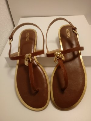 Michael Kors High-Heeled Toe-Post Sandals gold-colored-cognac-coloured leather