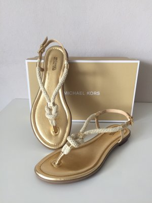 Michael Kors Toe-Post sandals gold-colored leather