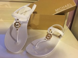 Michael Kors Sandalen, Weiß mit goldenem Emblem, MK Sondra Jelly