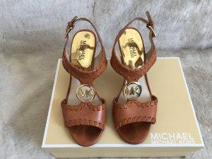 Michael Kors High-Heeled Sandals cognac-coloured leather