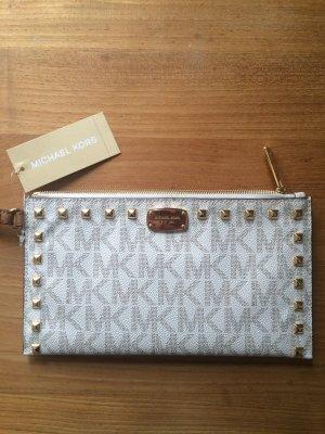 Michael Kors Sandrine Stud LG Zip Clutch Vanilla