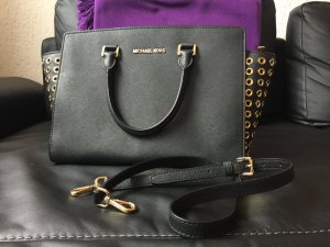 Michael Kors satchel Selma grommet schwarz gold medium