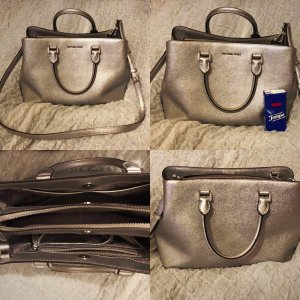 Michael Kors Savannah Large Saffiano Leather Satchel Silber