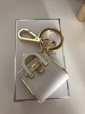 Michael Kors Schlüsselanhänger Taschenanhänger Weiß Gold Neu