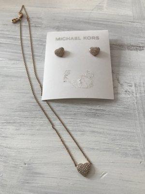 Michael Kors Schmuck Set Halskette und Ohrringe In Edelstahl Roségold Herz mit Steinen besetzt