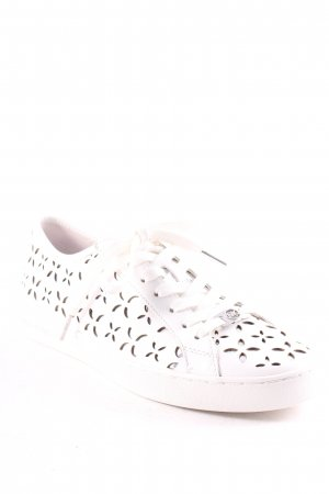 "Michael Kors Schnürschuhe ""Keaton Sneaker Lasered Leather Optic White/Silver 38,5"""