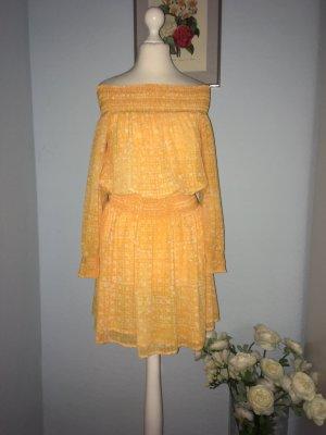 Michael Kors Robe chiffon orange doré-blanc