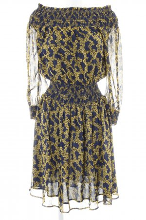 Michael Kors Off-The-Shoulder Dress dark yellow-dark blue flower pattern