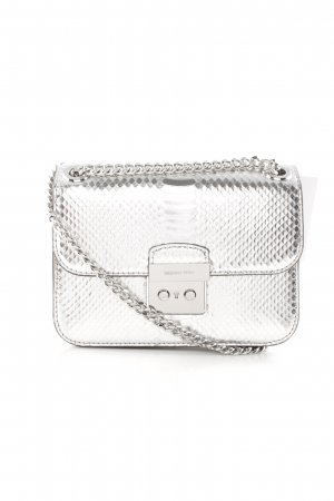 "Michael Kors Schoudertas ""Sloan Editor MD Chain Shoulder Bag Leather Silver"""