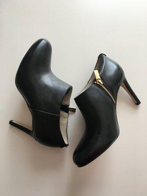 Michael Kors schwarz Booties Stiefeletten Ankle Boots Absatz Reißverschluss schwarz Gold edel Luxus Designer 36,5