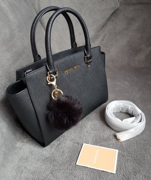 Michael Kors Selma MD Medium Schwarz Gold + Pom ♥