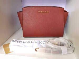 Michael Kors Selma MD Messenger Brick Rostrot Gold Neu RAR