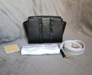 Michael Kors Selma MD Messenger Schwarz Rüschen Gold ♥