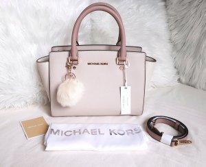 Michael Kors Selma MD Satchel Tricolor Fawn Soft Pink Ecru+Pom ♥