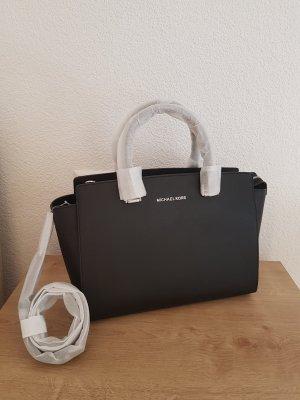 Michael Kors Selma Satchel Handtasche Tasche schwarz silber NEU Leder