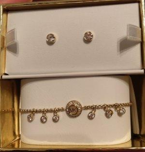 Michael Kors Set Armband Ohrringe Ohrstecker gold kristall neu