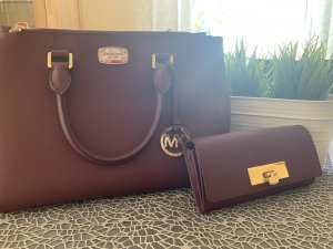 Michael Kors Sac Baril rouge mûre cuir