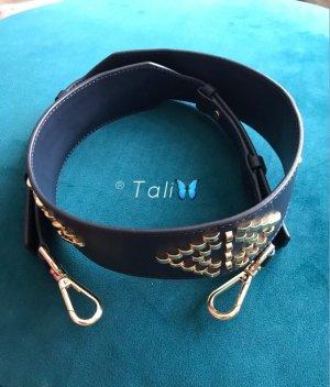 Michael Kors Cinturón de cuero azul oscuro-color oro Cuero