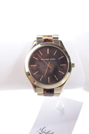Michael Kors Slim Runway Armbanduhr goldfarben-braun gemustert