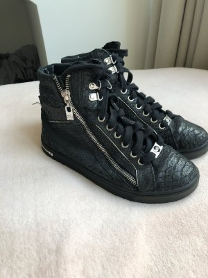 Michael Kors Lace-Up Sneaker black-silver-colored