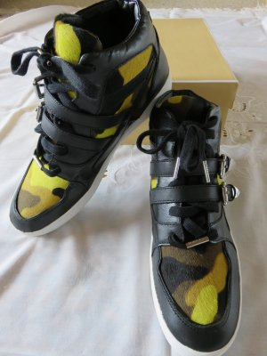 Michael Kors High Top Sneaker neon yellow-black leather