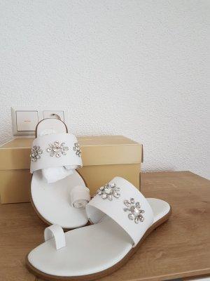 Michael Kors Sonya Flat Sandalen Flip Flops Gr. 7M EU 37 optic white weiss neu