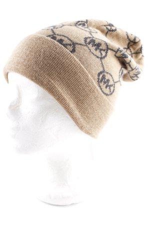01180458a549 Michael Kors Chapeau en tricot chameau-gris foncé Motif de monogramme