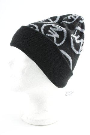 Michael Kors Cappello a maglia nero-grigio chiaro modello monogramma