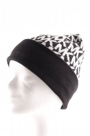 Michael Kors Sombrero de punto negro-blanco estampado gráfico look casual