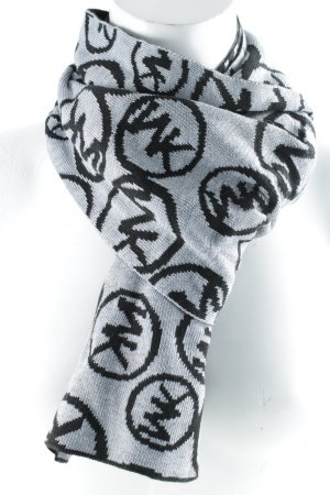 Michael Kors Knitted Scarf black-light grey monogram pattern casual look