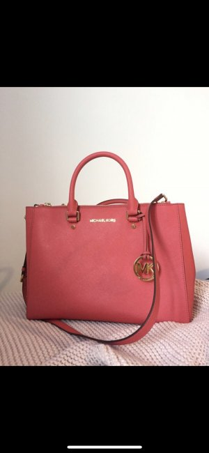 Michael Kors Sutton Medium Saffiano Satchel in Watermelon