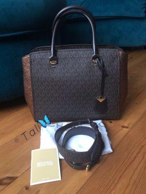 Michael Kors Tasche Benning Large LG Braun Gold Bronze Signature MK Print