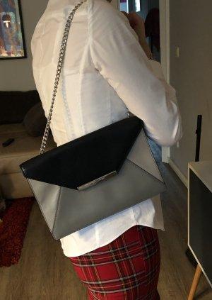 Michael Kors Tasche Clutch Kettenhenkel echt Leder Envelope Handbag grau schwarz