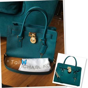 Michael Kors Tasche Hamilton Medium MD  Farbe: Teal Blue Petrol Gold