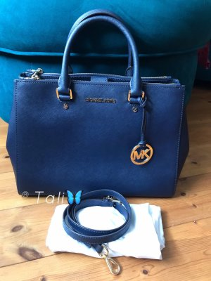 Michael Kors Tasche Sutton Large LG Navy Blau Gold
