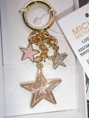 Michael Kors Taschenanhänger Schlüsselanhänger Gold Soft-Pink Strass Neu mit Etikett