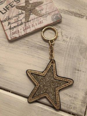 Michael Kors Taschenanhänger Schlüsselanhänger in Leder Gold Glitzer