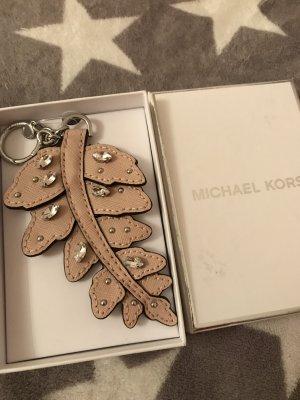 Michael Kors Taschenanhänger /Schlüsselanhänger Neu Rosa/Silber mit Steinen Lederr