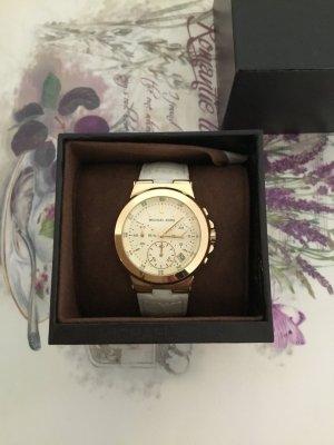 Michael Kors Horloge met lederen riempje wit-goud