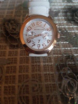 Michael Kors Horloge met lederen riempje wit-roségoud