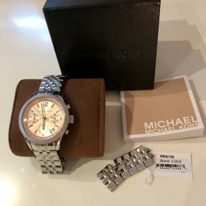 Michael Kors Watch With Metal Strap light grey-pink