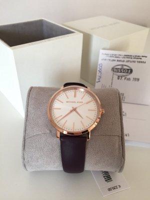Michael Kors Uhr Armbanduhr Neu Roségold Pflaume Leder MK2605