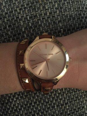 Michael Kors Horloge met lederen riempje bruin