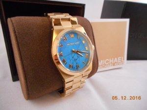 Michael Kors Uhr mit blauem Ziffernblatt und originaler Aufbewahrung