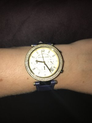 Michael Kors Watch With Leather Strap dark blue-sand brown stainless steel